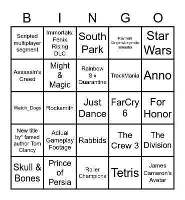 Ubisoft E3 2021 Bingo Card