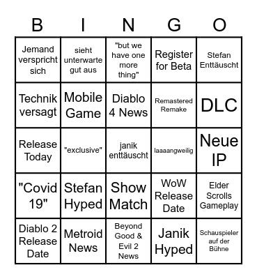 E3 Bingo Card