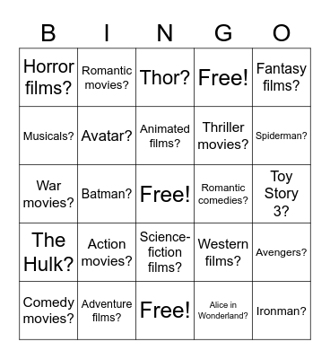 Do you like__________? Bingo Card