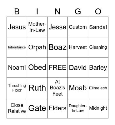 Ruth Bingo Card
