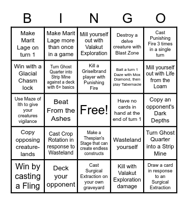 Lands Bingo Card