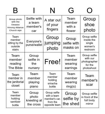 Fellowship Picture Bingo Card