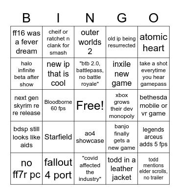 e3 drinking game Bingo Card