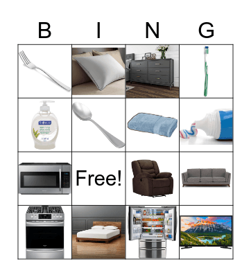 Home Pictures Bingo Card