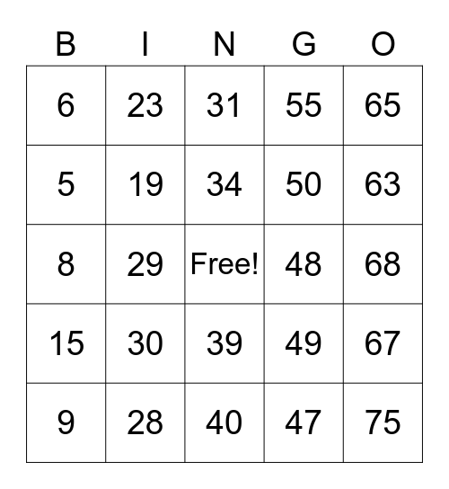 Number Bingo 1-54 Bingo Card