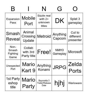 NINTENDO DIRECT E3 2021 Bingo Card