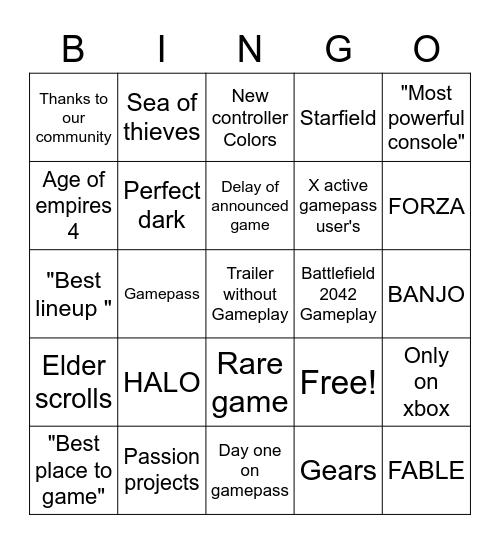 Microsoft E3 2021 Bingo Card