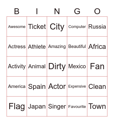 Welcome Bingo Card