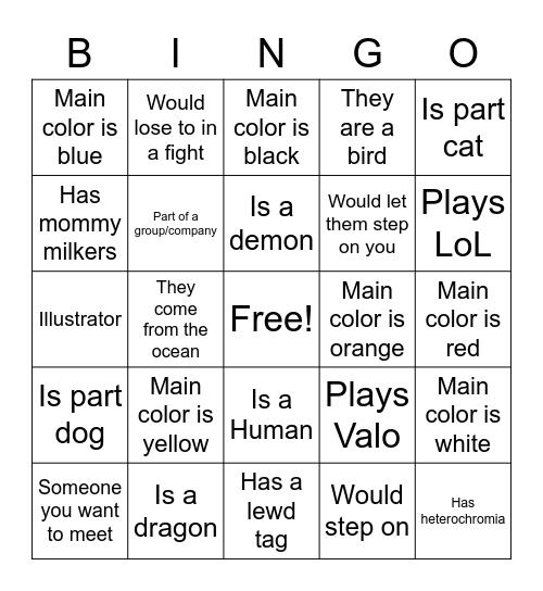 Vtuber Bingo Card