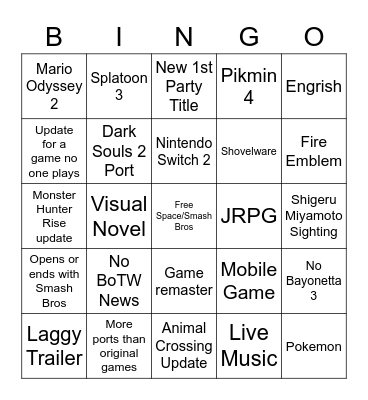 E3 6/15 Bingo Card