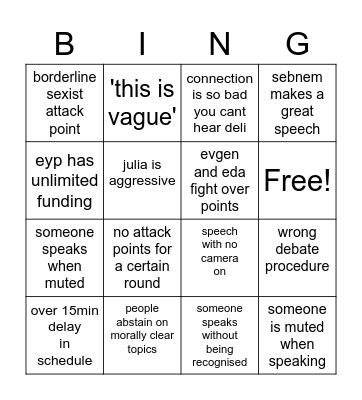 EYP Bingo Card