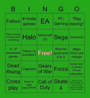 Microsoft E3 Bingo Card