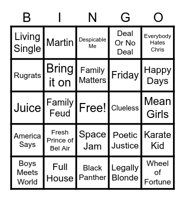 Tv Shows and Movies Bingo Card