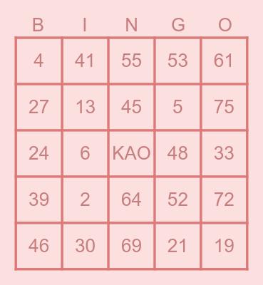 IGN: Kamille Bingo Card