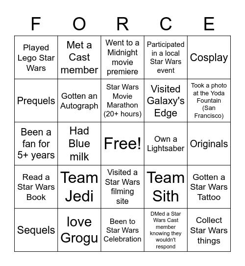 "Star Wars ""Force!"" (Bingo) Bingo Card"