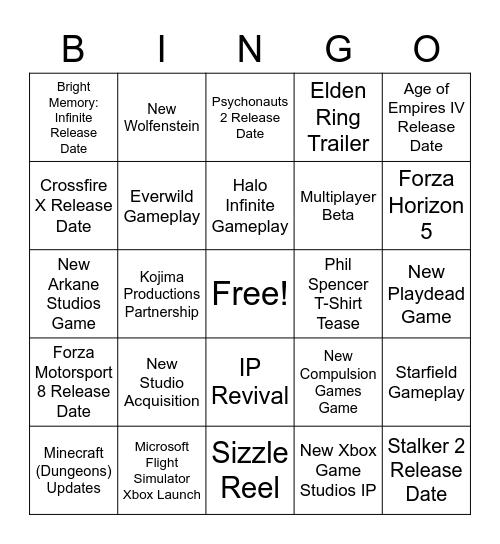 MICROSOFT/BETHESDA E3 2021 Bingo Card
