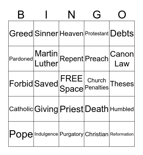 Theses Bingo Card