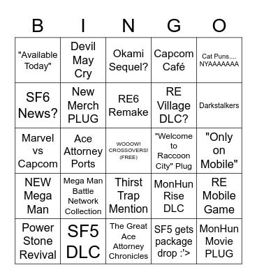 Capcom E3 Bingo (Tater Style) Bingo Card