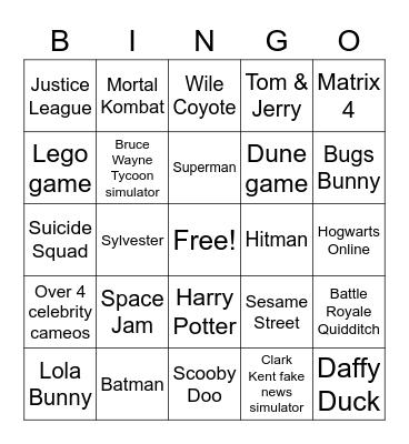 Super Warner Bros. 3 Bingo Card