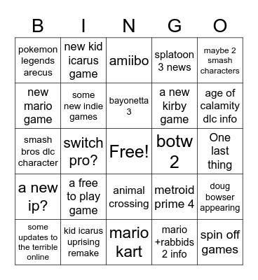 nintendo e3 direct bingo Card