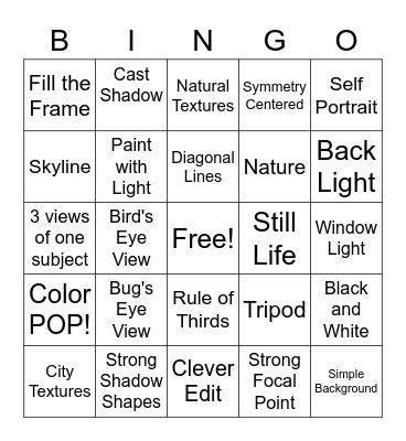 Pixel Play Photography Bingo Card