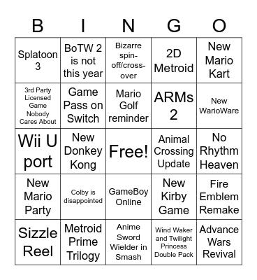 mccgavin's Nintendo E3 Bingo Card
