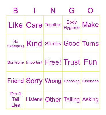 Making Friends Bingo Card