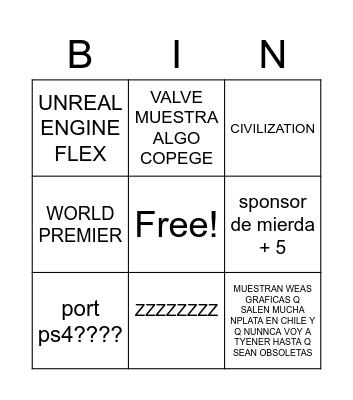 PC GAMING SHOW Bingo Card