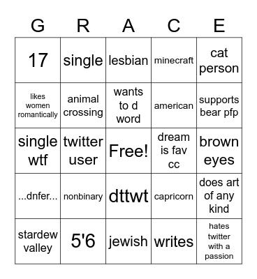 grace bingo Card