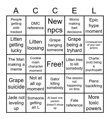 Accel World Bingo Card