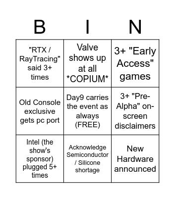 PC Gaming Show E3 2021 Bingo Card