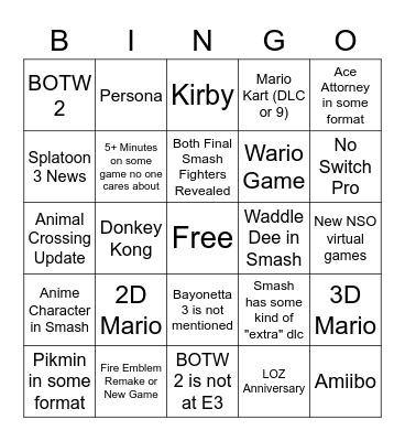 Nintendo E3 Bingo Card