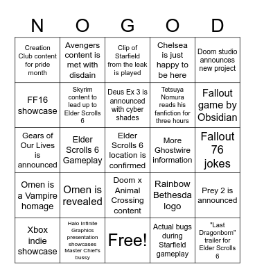 Todd Howard Fucks Your Kingdom Hearts OC Bingo Card