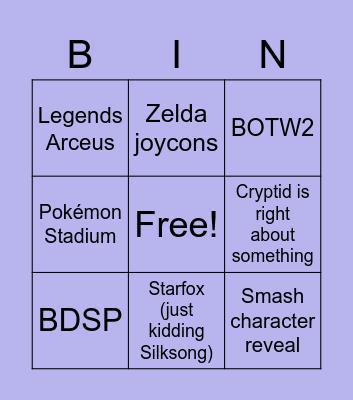 Nintendo makes me cry Bingo Card