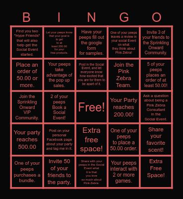 Hostess Bingo Board Bingo Card