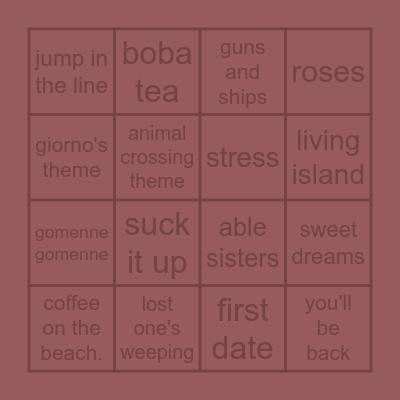 guess the songs Bingo Card