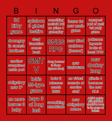 nintendo e3 2002201 bingo Card