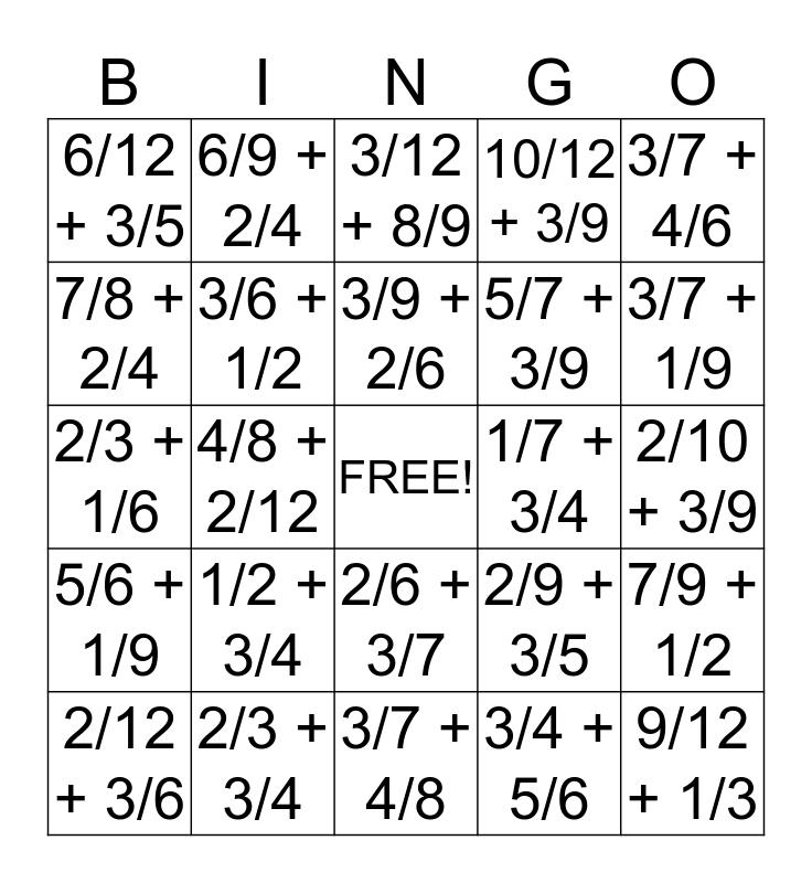 Common Denominator Bingo Card