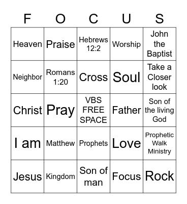 """""""FOCUS, Take a Closer Look"""" Hebrews 12:2 Bingo Card"""