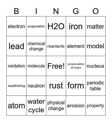 Unit 1-What's the MATTER in Flint Bingo Card