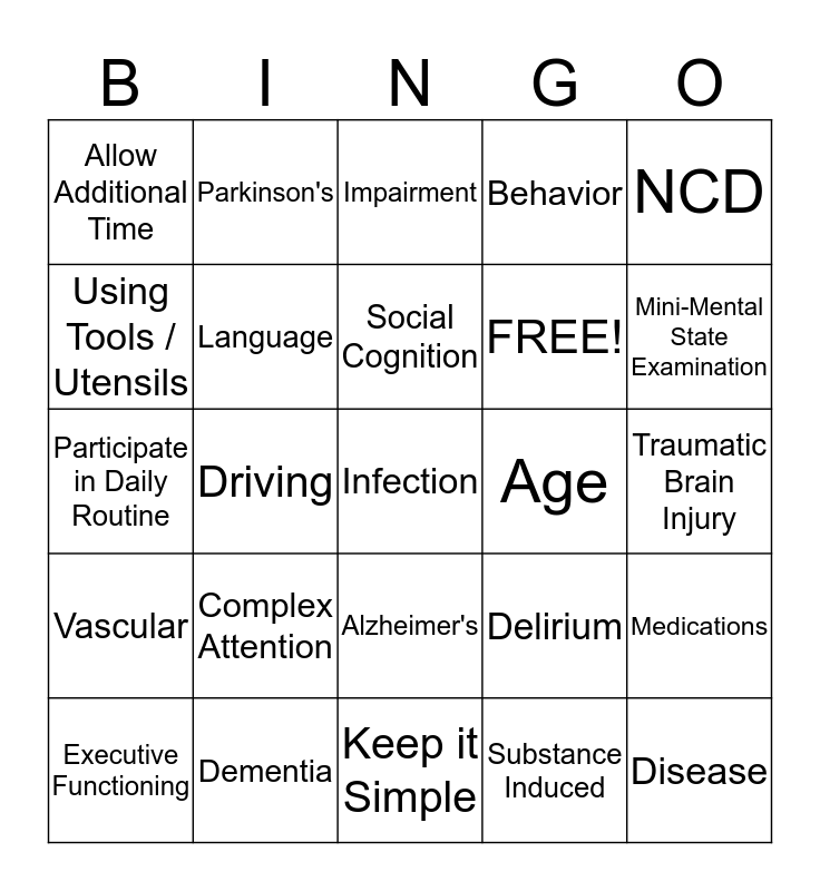 Dementia Care: When You Forget That You Forgot Bingo Card