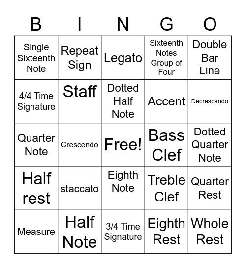 Music Symbols Vocabulary Bingo Card