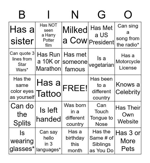 PSG Bingo Card