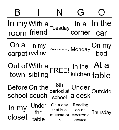 Reading Bingo due  Bingo Card
