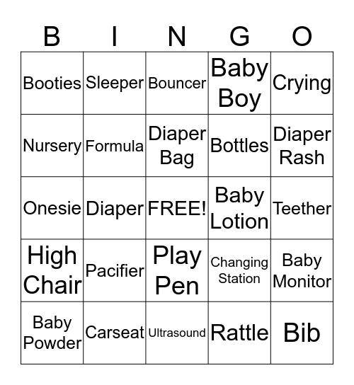 Tre's Baby Shower Bingo Card