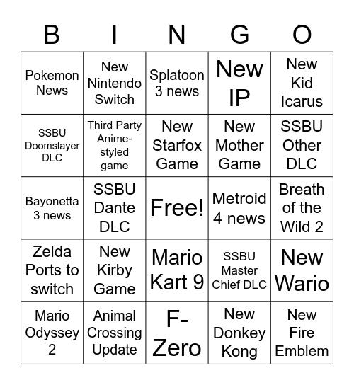 Nintendo Direct e3 Bingo Card