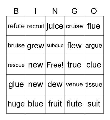 Long U Bingo Card