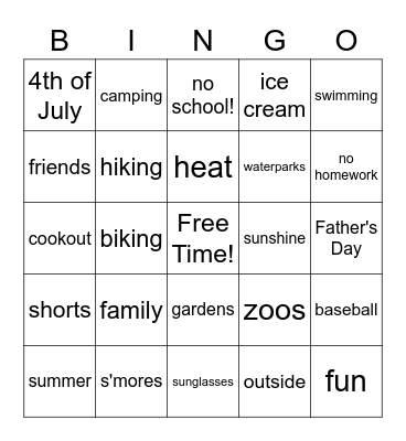 Last Day of School Bingo Card