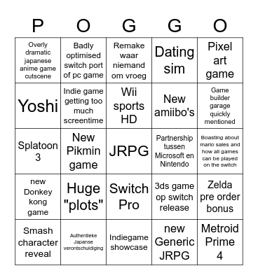 NINTENDO E3 2022221 Bingo Card