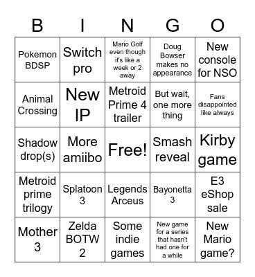 Nintendo 2021 e3 Bingo Card